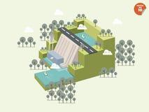 可再造能源sourcehydropowerdam和发电器单位设计  免版税库存照片