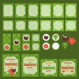 可印的套夏天党元素 模板、标签、象、旗子和套 棕榈叶背景 向量例证
