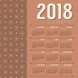 2017可印的日历起动星期天布朗葡萄酒图表Vect 免版税库存照片