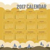 2017可印的日历起动星期天自然风景葡萄酒颜色 免版税库存照片