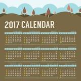 2017可印的日历起动星期天自然风景葡萄酒颜色 免版税库存图片