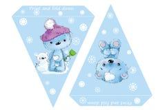 可印的模板旗子 横幅婴儿送礼会、生日、新年或者圣诞晚会与婴孩熊和雪花 免版税图库摄影