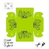 可印的箱子用狂放的蘑菇 创造小事、琐事和小装饰品的箱子 打印,切开在线里面并且胶合它 皇族释放例证