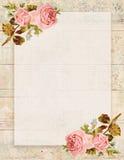 可印的葡萄酒破旧的别致的样式花卉玫瑰固定式在木背景 免版税库存图片