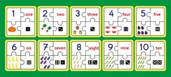 可印的计数的难题,数字小条难题工作用工具加工难题,计数第1 10比赛, 免版税图库摄影