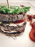 可口三明治,与熏火腿蕃茄sala的意大利点心 图库摄影