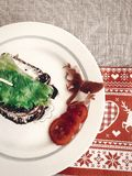 可口三明治,与熏火腿蕃茄sala的意大利点心 库存图片