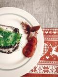 可口三明治,与熏火腿蕃茄sala的意大利点心 免版税库存图片