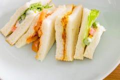 可口三明治用在白色盘,家的火腿vegeable面包 免版税库存照片