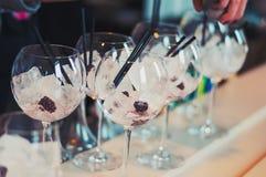 可口五颜六色的冰冷的饮料用莓果 免版税图库摄影