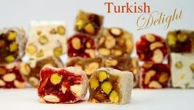 可口五颜六色的土耳其快乐糖 免版税库存照片