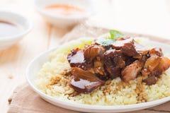 可口亚洲猪肉米 免版税库存照片