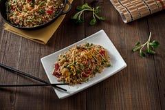 可口亚洲食物午餐专辑在餐馆 免版税库存图片