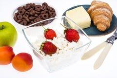 可口健康早餐用酸奶干酪 免版税库存照片