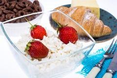 可口健康早餐用酸奶干酪 库存图片