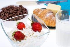 可口健康早餐用酸奶干酪 库存照片