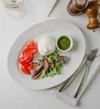 可口健康素食开胃小菜-经典caprese沙拉用蕃茄,与新鲜的蓬蒿的无盐干酪乳酪离开 免版税库存照片