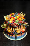 可口儿童` s果子蛋糕用新鲜的草莓,莓,蓝莓,无核小葡萄干,猕猴桃,在木backgroun的石榴 免版税库存图片
