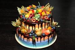 可口儿童` s果子蛋糕用新鲜的草莓,莓,蓝莓,无核小葡萄干,猕猴桃,在木backgroun的石榴 免版税库存照片