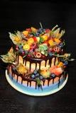 可口儿童` s果子蛋糕用新鲜的草莓,莓,蓝莓,无核小葡萄干,猕猴桃,在木backgroun的石榴 免版税图库摄影