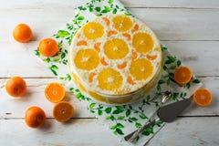 可口冷的奶油甜点果子饼 库存图片