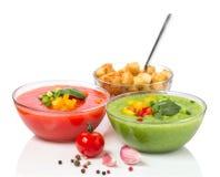 可口冷的红色和绿色gazpacho汤 图库摄影