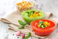 可口冷的红色和绿色gazpacho汤 免版税库存照片