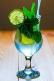 可口冷的酒精鸡尾酒mojito 免版税库存照片