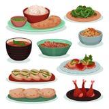 可口印度食物,thali,在麦子玉米粉薄烙饼,tandoori,roti在白色的传染媒介例证的绿豆的汇集 库存例证
