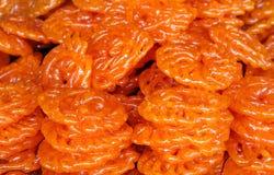 可口印第安甜jalebi 免版税图库摄影