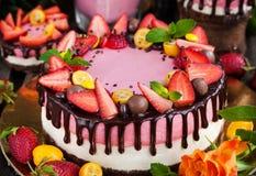 可口双重乳酪蛋糕装饰用巧克力和新s 免版税图库摄影