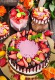 可口双重乳酪蛋糕装饰用巧克力和新s 库存照片