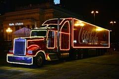 可口可乐卡车圣诞节慈善了不起的乐队的慈善竞选  免版税库存图片