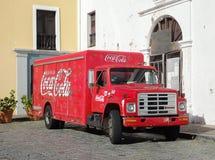 可口可乐卡车在卡塔赫钠,哥伦比亚 图库摄影