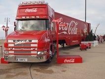 可口可乐卡车在布莱克浦 库存图片