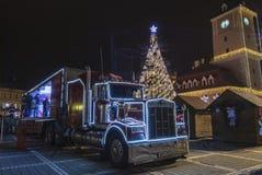 可口可乐圣诞节卡车 免版税库存照片