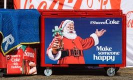 可口可乐圣诞节显示和圣诞老人 免版税库存图片