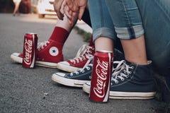 可口可乐对 逆 免版税图库摄影