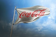 可口可乐照片拟真的旗子社论 库存图片