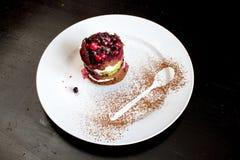 可口和乳脂状的蛋糕用新鲜水果 免版税库存照片