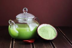 可口和新鲜的日本茶matcha 库存照片