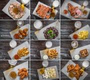 可口啤酒快餐的不同的图片拼贴画  免版税库存图片