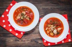 可口地中海样式蕃茄海鲜汤用各种各样混杂的海鲜 免版税图库摄影