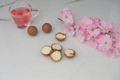 可口块菌状巧克力和花 免版税库存照片