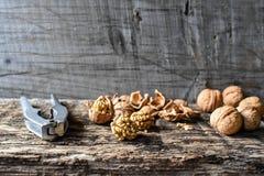 可口坚果和胡桃钳在一张老木桌, copyspace,集合上 免版税库存照片