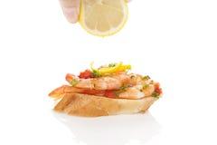 可口大虾开胃菜长方形宝石 免版税库存图片