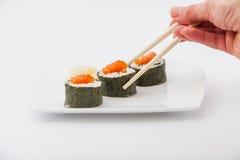 可口寿司卷 免版税库存照片