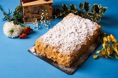 可口层状油酥点心拿破仑蛋糕 免版税图库摄影