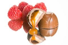 可口巧克力焦糖, cheescake块菌。 免版税库存照片