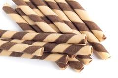 可口巧克力薄酥饼卷棍子 库存图片